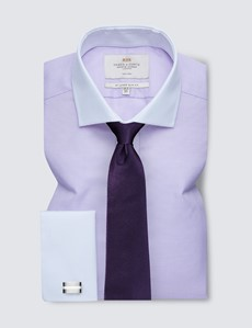 Non Iron Lilac Fabric Interest Slim Fit Shirt with Windsor Collar - Double Cuff