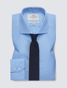 Non Iron Blue & White Gingham Check Slim Fit Shirt with Windsor Collar