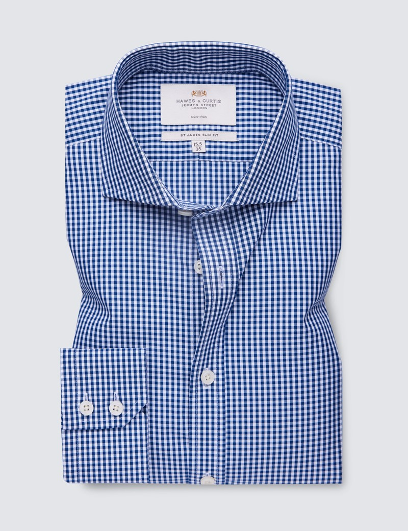 Men's Business Navy & White Gingham Check Slim Fit Shirt - Windsor Collar - Single Cuff - Non Iron