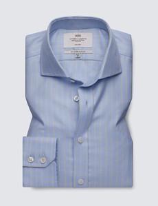 Men's Business Blue & Yellow Textured Check Slim Fit Shirt - Windsor Collar - Single Cuff - Non Iron