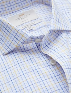 Non Iron Blue & Yellow Multi Check Slim Fit Shirt with Windsor Collar