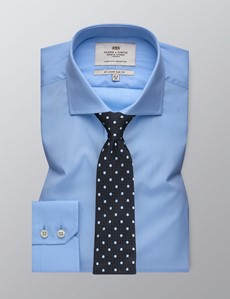 Men's Formal Blue Poplin Slim Fit Shirt - Windsor Collar - Single Cuff