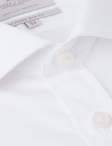 Men's Formal White Poplin Slim Fit Business Shirt With Contrast - Single Cuff