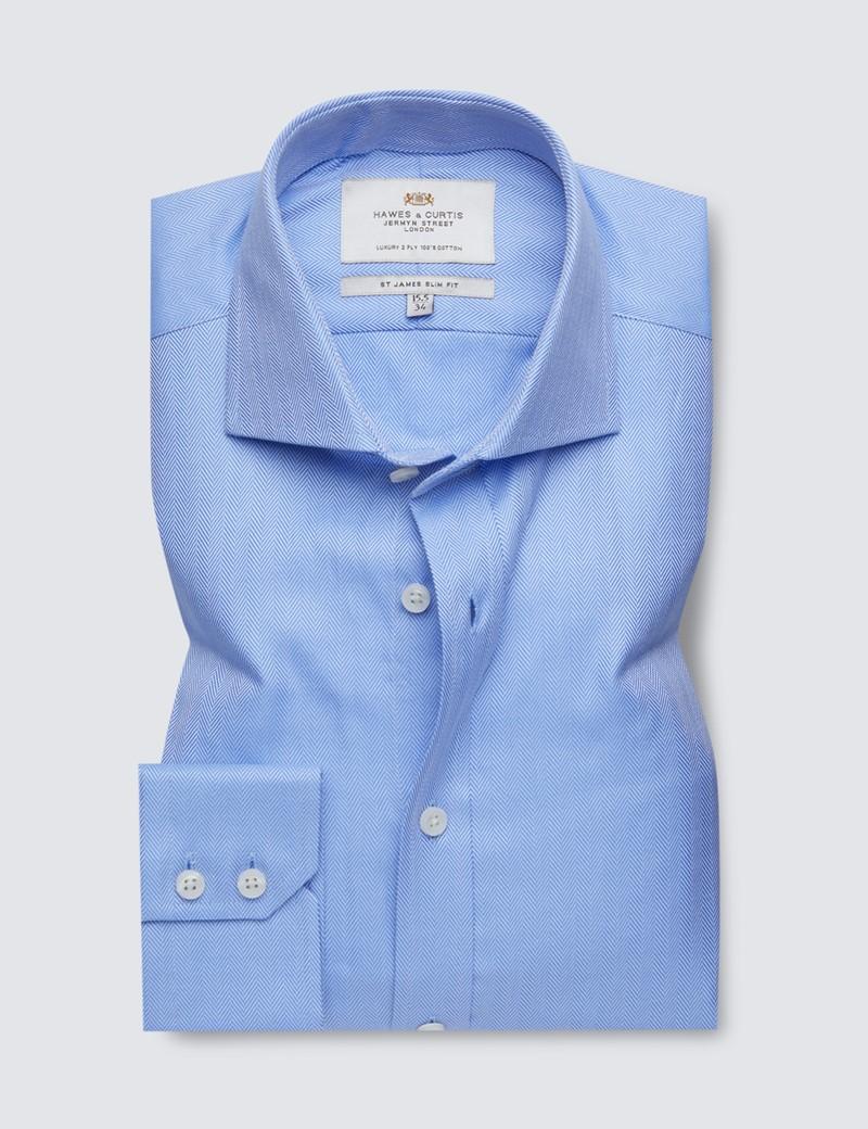 Easy Iron Blue Herringbone Slim Fit Shirt with Windsor Collar