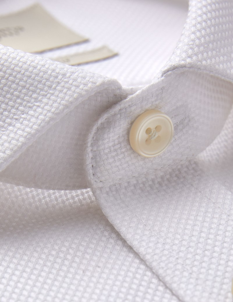 Men's Formal White Dobby Slim Fit Shirt - Windsor Collar - Single Cuff - Non Iron