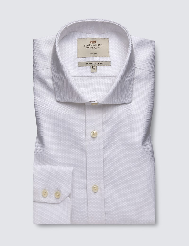 Men's Formal White Dobby Slim Fit Shirt with Windsor Collar and Single Cuff - Non Iron