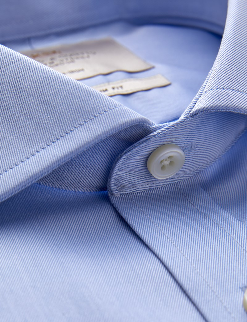 Men's Business Blue Twill Slim Fit Shirt with Windsor Collar and Single Cuff - Non Iron