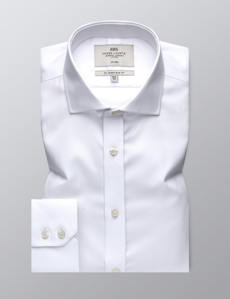 Men's Formal White Twill Slim Fit Shirt - Windsor Collar - Single Cuff - Non Iron
