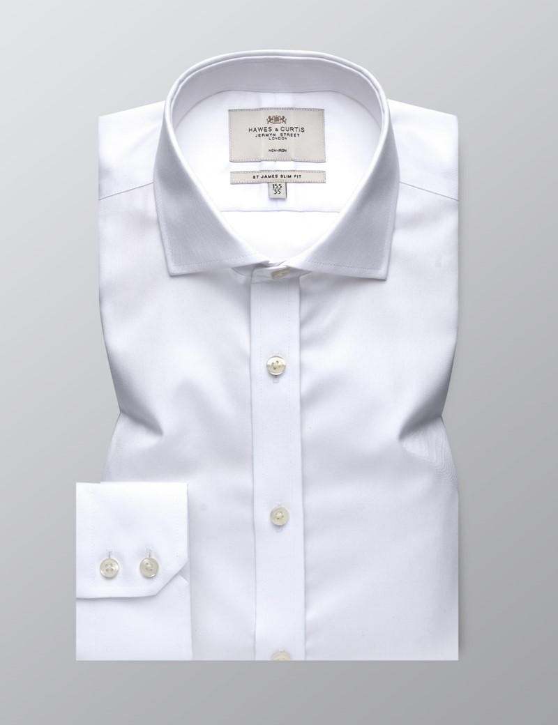 Men's Dress White Twill Slim Fit Shirt - Windsor Collar - Single Cuff - Non Iron