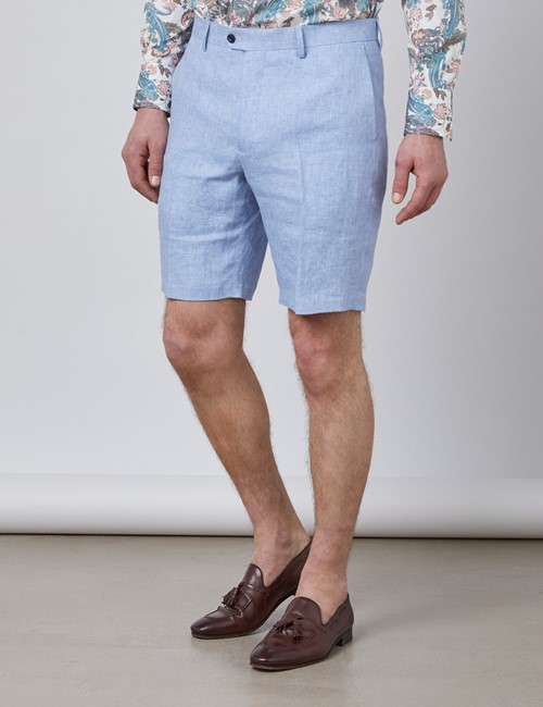 Men's Light Blue Herringbone Italian Linen Shorts – 1913 Collection