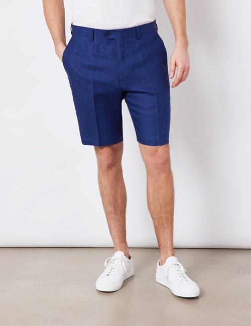 Men's Royal Blue Herringbone Italian Linen Shorts – 1913 Collection