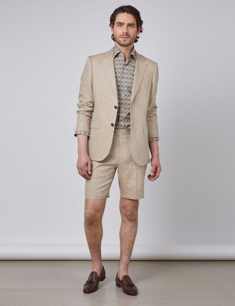 Leinenshorts - 1913 Kollektion - Tailored Fit - beige Fischgrat