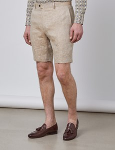 Men's Beige Herringbone Italian Linen Shorts – 1913 Collection