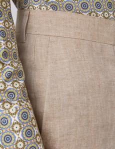 Men's Beige Herringbone Italian Linen Shorts – 1913 Collection