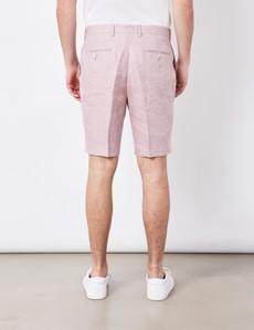 Men's Pink Herringbone Italian Linen Shorts – 1913 Collection