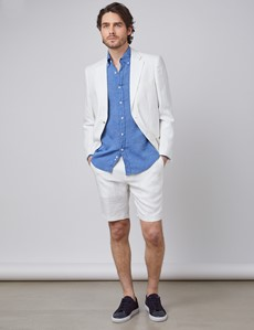 Men's White Herringbone Italian Linen Shorts – 1913 Collection