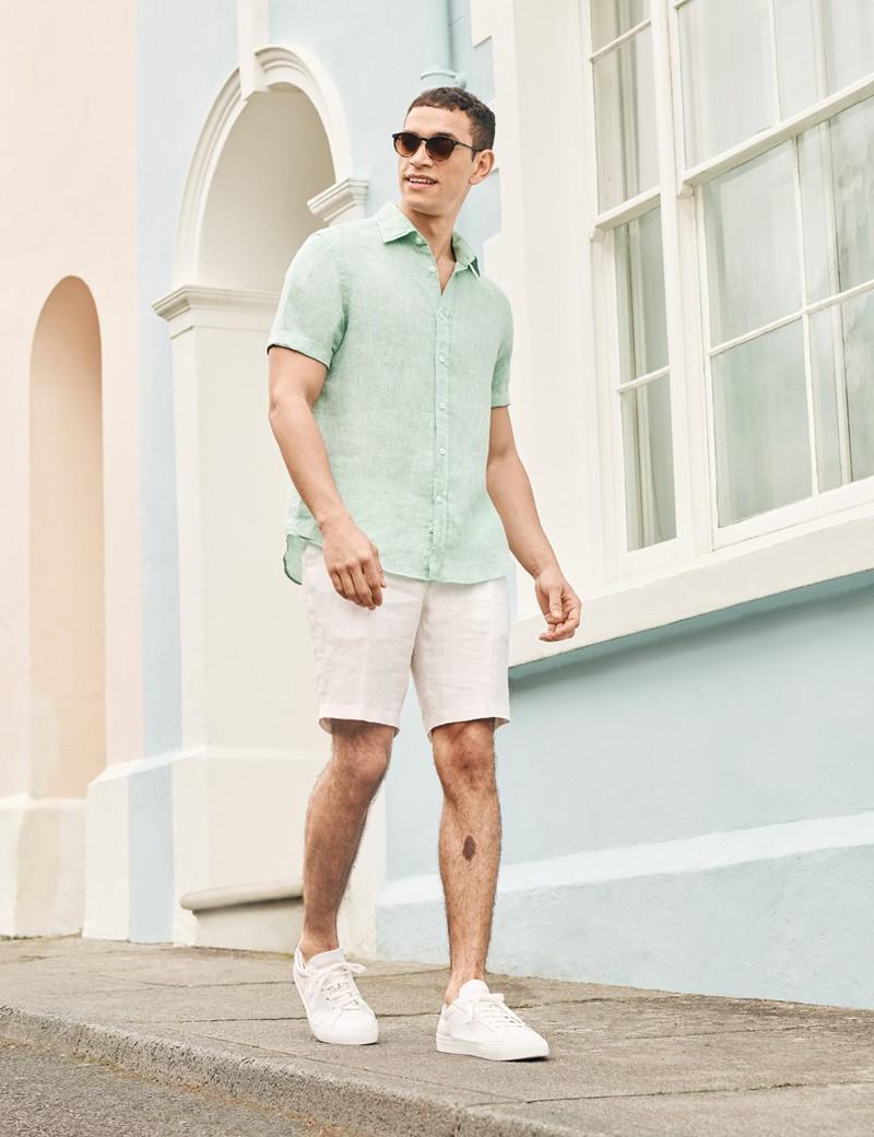Men's White Herringbone Italian Linen Shorts – 1913 Collection
