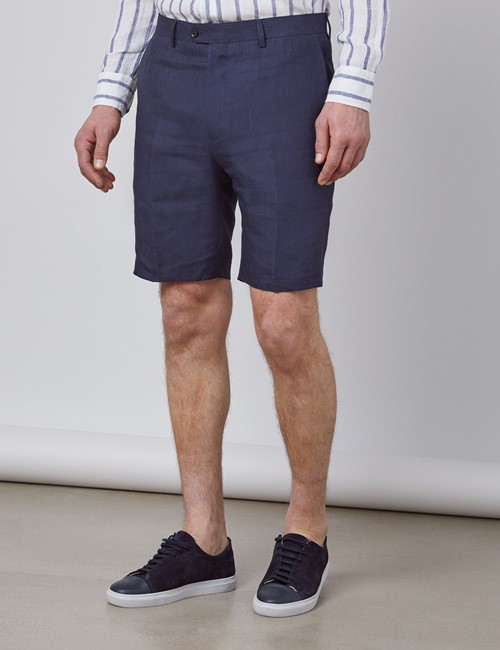 Men's Navy Linen Shorts