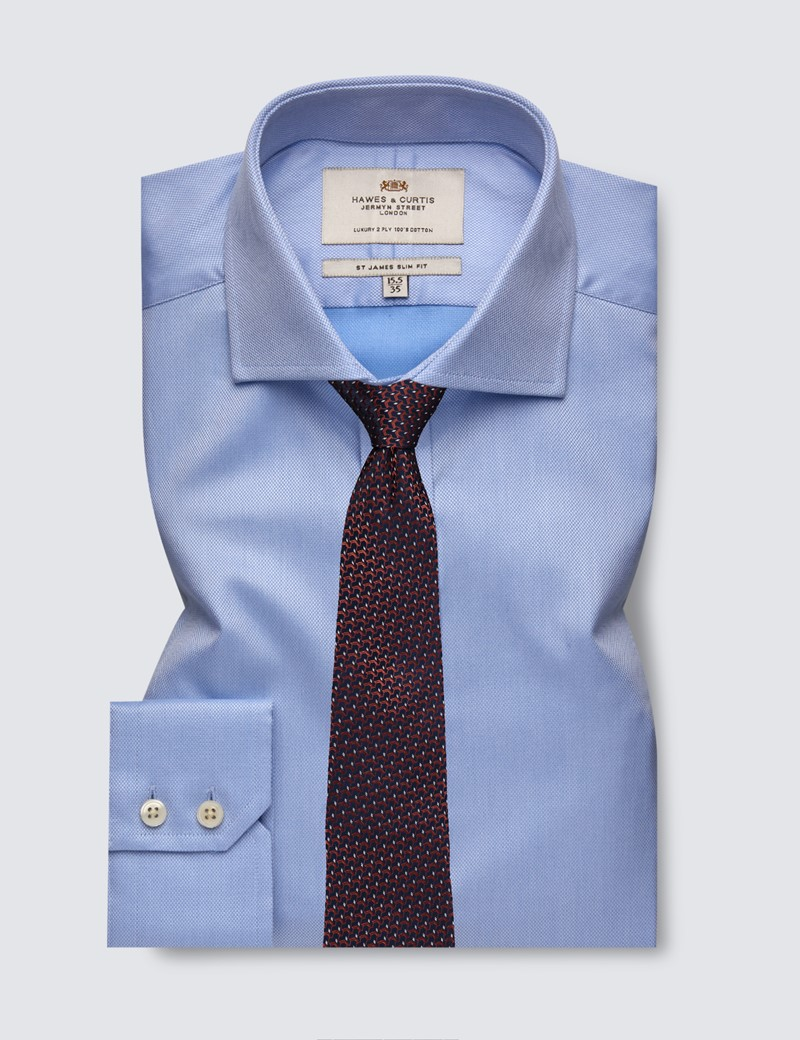 Men's Business Blue Pique Slim Fit Shirt with Windsor Collar and Single Cuffs - Easy Iron