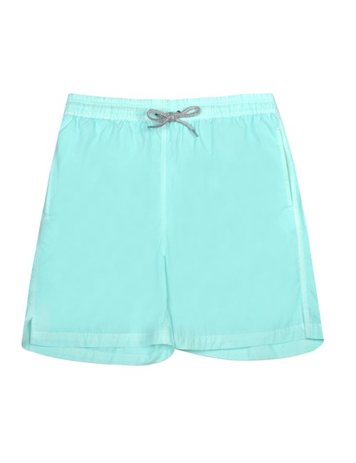 Plain Aqua Garment Dye Swim Shorts