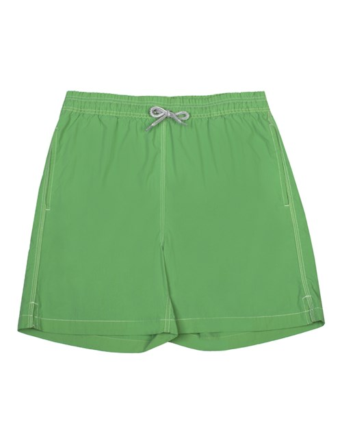 Plain Green Garment Dye Swim Shorts