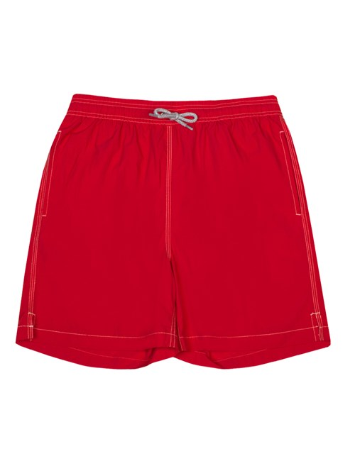 Plain Red Garment Dye Swim Shorts