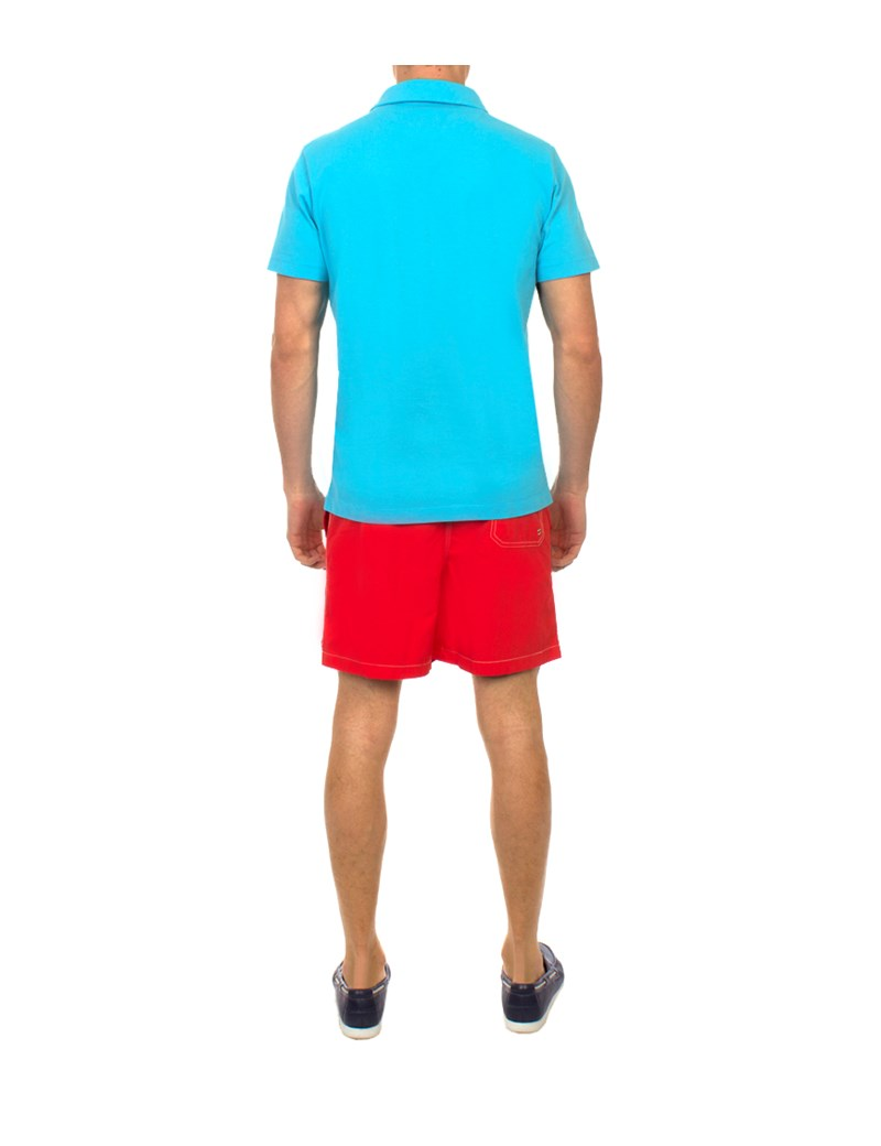 Men's Red Garment Dye Swim Shorts