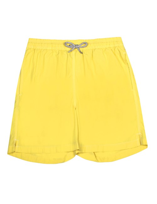 Plain Yellow Garment Dye Swim Shorts