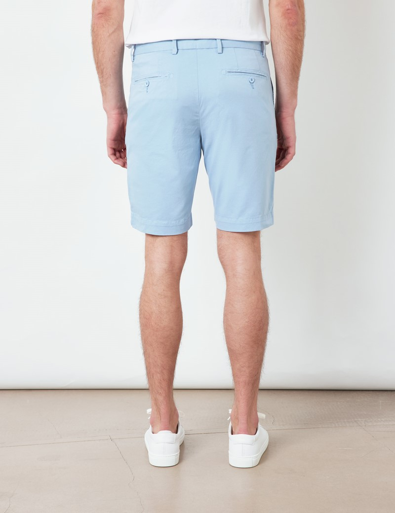 Light Blue Garment Dyed Organic Cotton Chino Shorts