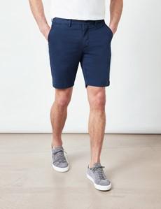Deep Navy Garment Dyed Organic Cotton Chino Shorts