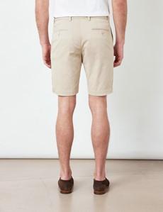 Beige Garment Dyed Organic Cotton Chino Shorts