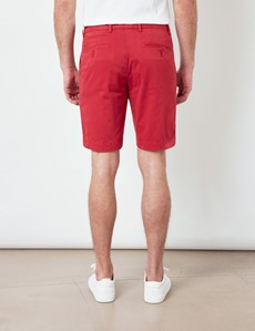 Red Garment Dyed Organic Cotton Chino Shorts
