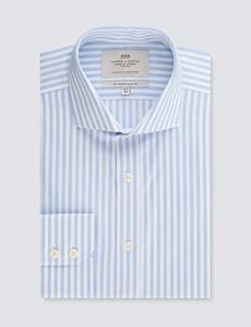 Men's Formal Blue & White Stripe Slim Fit Shirt - Windsor Collar - Single Cuff