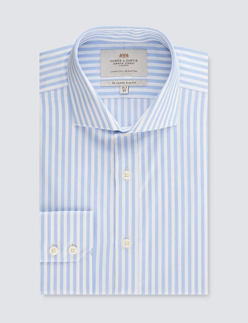 Businesshemd – Slim Fit – Haifischkragen – hellblau-weiß Streifen