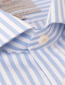 Men's Dress Blue & White Stripe Slim Fit Shirt - Windsor Collar - Single Cuff
