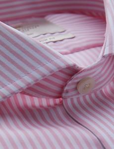 Non Iron Pink & White Bengal Stripe Slim Fit Shirt - Windsor Collar