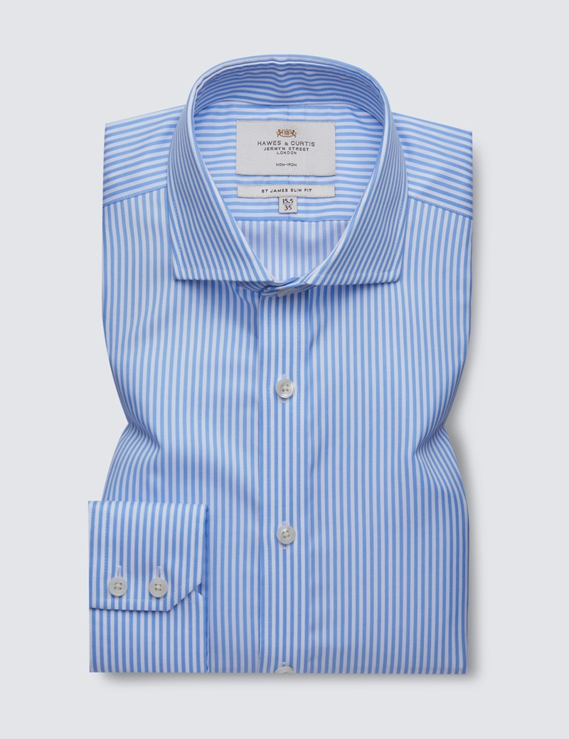 Non Iron Blue & White Bengal Stripe Slim Fit Shirt - Windsor Collar
