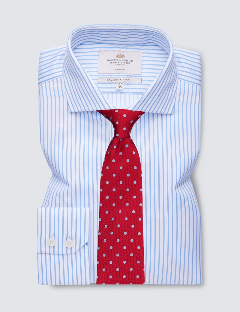 Men's Formal Blue & White Stripe Slim Fit Shirt with Windsor Collar and Single Cuffs - Non Iron
