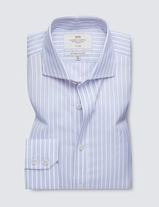 Non Iron Pink & Navy Multi Stripe Slim Fit Shirt with Windsor Collar