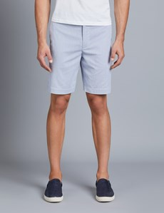 Men's Blue & White Fine Stripe Chino Shorts