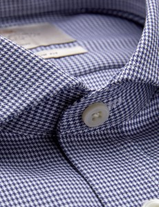 Men's Formal Navy & White Dobby Slim Fit Shirt with Windsor Collar and Single Cuffs - Non Iron