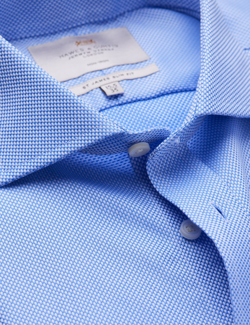 Men's Business Blue Fabric Interest Slim Fit Shirt with Windsor Collar - Single Cuff - Non Iron