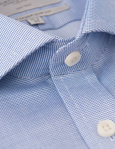 Men's Formal Blue & White Dobby Slim Fit Shirt - Windsor Collar - Single Cuff - Non Iron