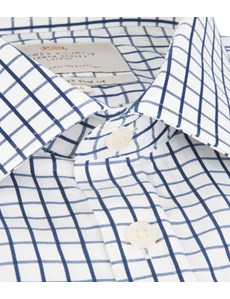 Men's Navy & White Large Check Slim Fit Shirt - Single Cuff - Easy Iron