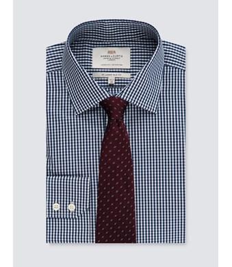 Men's White & Navy Gingham Plaid Slim Fit Dress Shirt - Single Cuff - Easy Iron