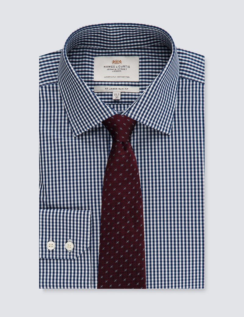 Men's White & Navy Gingham Plaid Slim Fit Dress Shirt - Single Cuff - Easy Iron