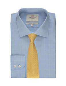 Men's  Blue & Yellow Prince of Wales Check Slim Fit Business Shirt - Single Cuff - Easy Iron