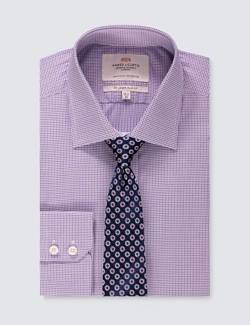 Business Hemd – Slim Fit – Kent Kragen – Gitterkaro violett & weiß