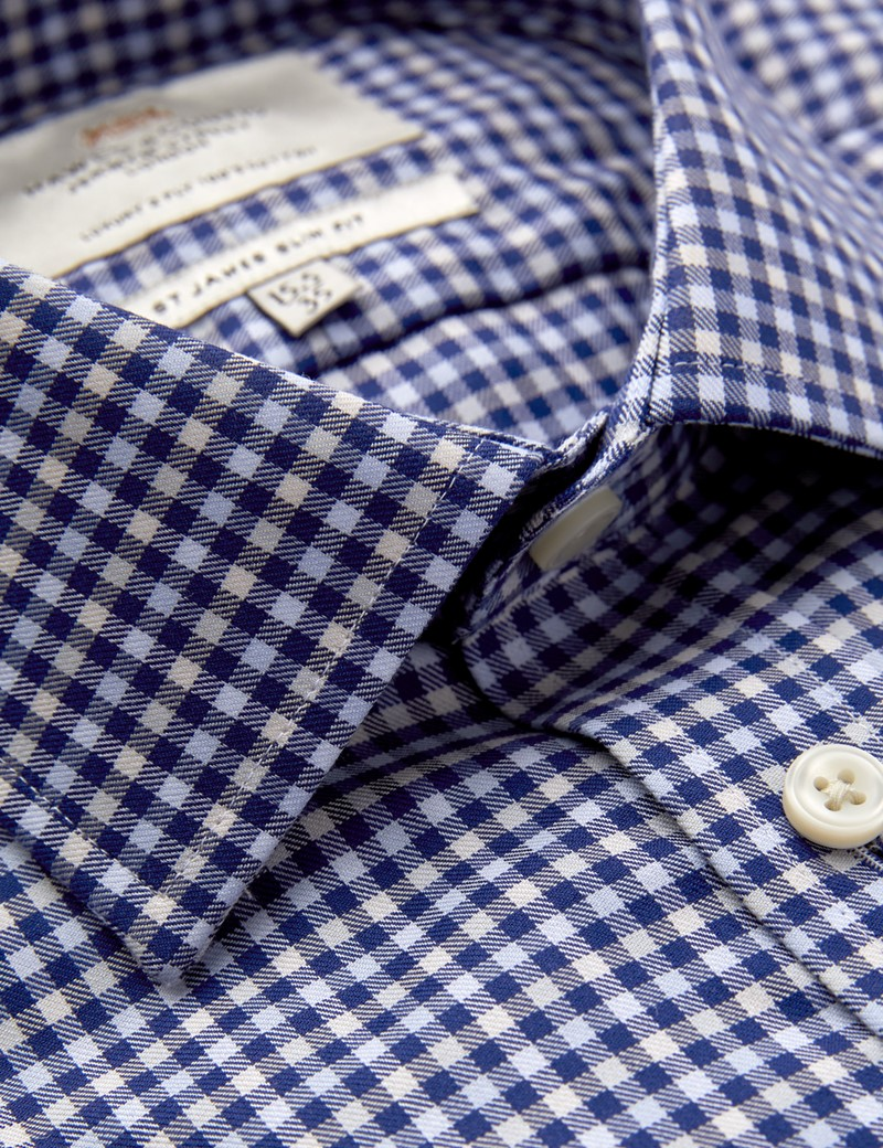 Men's Formal Blue & Cream Country Check Slim Fit Shirt - Single Cuff - Easy Iron