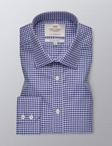 Businesshemd – Slim Fit – Kentkragen – Country Check blau & creme